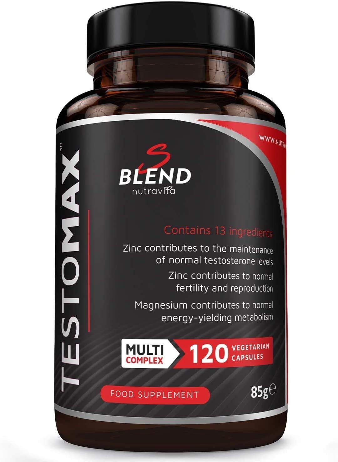 TESTOMAX Potenciador De Testosterona Para Hombres - 13 Potentes Ingredientes Activos Y Vitaminas Que Incluyen Zinc, Extracto De Raíz De Maca, Fenogreco, Ginseng - Fabricado Por Nutravita