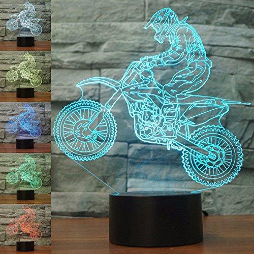 3D LED lámparas Moto Coche ilusion optica luz de noche 7 colores...