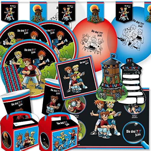 spielum 77-teiliges Party-Set - DREI Fragezeichen ??? Kids -Teller Becher Servietten Platzsets Wimpelkette Einladungen Luftballons Partyboxen Trinkhalme für 8 Kinder
