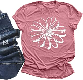 Women's Summer Daisy Printed T Shirts Casual Loose Tops Cute Graphic Tee Sunflower Blouse(S-3XL)