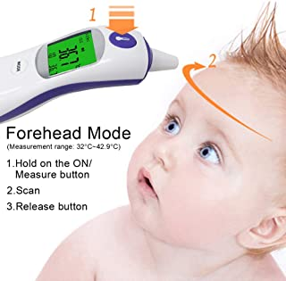Multifuntional Infrared Thermometer, 3in1 Digital IR Thermometer Adult Baby Body Ear Fever Forehead Temperature Meter Object Liquid Temperature Monitor Color Alarm
