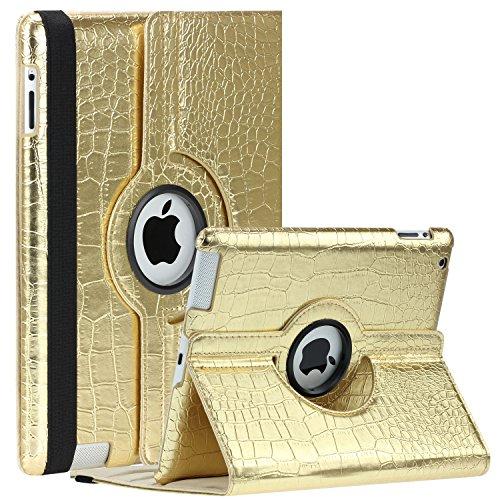 SAVEICON (TM) 360 Degrees Rotating Crocodile Skin PU Leather Case Smart Cover with Stand and Sleep/Wake Function for Apple iPad 4 with Retina Display, iPad 3, iPad 2 (Gold)