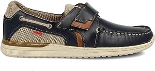 PAYMA - Chaussures Bateau Sport Casual Homme en Cuir. Grandes Pointures 46 47. Fermeture Velcro et Lacets. Semelle en Caou...