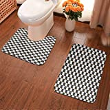 Bath Rug Contour Mat Lid Cover Non-Slip Black and White Checkered Pattern with Lively Colored Dots Modern Geometric Tile 15.7x23.6INCH-2PCS Carpet for Living Room