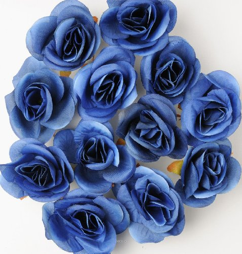 Artif-deco - Tetes de rose artificielle x 12 blanc d 4 50 cm pour boule de rose - choisissezvotrecoloris: bleu royal