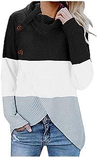 Womens Knit Sweater, Turtleneck Chunky Cowl Neck Button Asymmetric Split Hem Wrap Patchwork Pullover Jumper