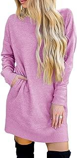 Fessceruna Women Sweatshirt Dress Side Pockets Long Sleeve Crew Neck Loose Tunic T Shirt Dress