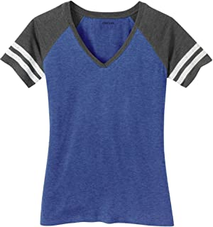 Ladies Distressed Retro V-Neck T-Shirts, Sizes: XS-4XL
