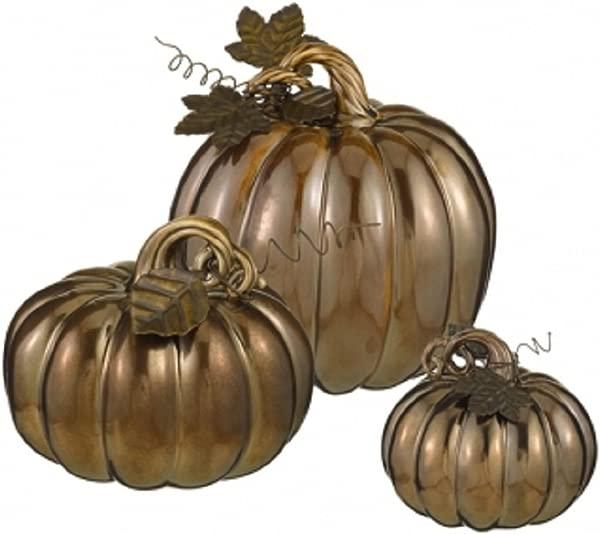 Bronze Pumpkins Set Of 3