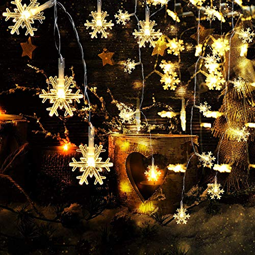 BESLIME Schneeflocke Lichterketten, 5M 50LED Lichterketten, Decoration Lightning für Valentinstag Weihnachten Hochzeit Geburtstag Party Schlafzimmer Indoor&Outdoor