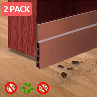 Door Sweep Door Draft Stopper Door Bottom Seal Strip Under Door Stopper Draft Guard Blocker for Home, Exterior, Storm, Interior Door Threshold Soundproof (2 Pack, Brown)