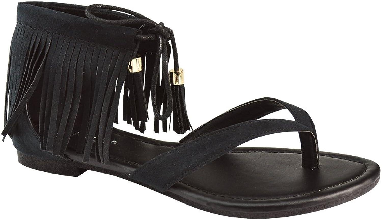 ANNA Ruffle-7 Women's Fringe Lace up Thong Flat Dress Sandals