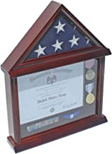 Flag Display Case Military Shadow Box for 3'X5' U.S. Flag, Hardwood, Mahogany Finish (Black Felt)