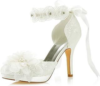 Mrs Right 3703L Scarpe da Sposa da Donna Punta Chiusa Tacco a Spillo Pizzo Satinato Piattaforma Pompe Raso Fiore Cravatta ...