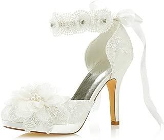 Mrs Right 3703L Women's Bridal Shoes Closed Toe Stiletto Heel Lace Satin Platform Pumps Satin Flower Ribbon Tie Wedding Shoes