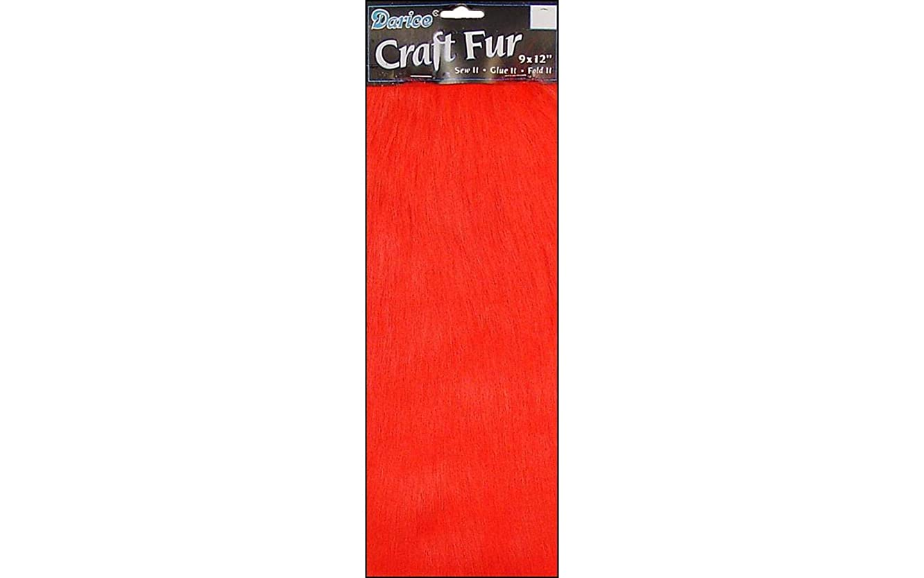Long Pile Craft Fur, Red, 9 x 12 inches