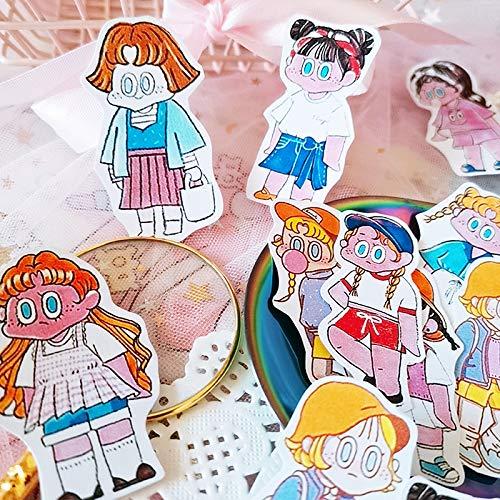 YCYY Hand Account Sticker Sticker Weird Girl Wearing Sticker Hand Account Sticker Small Hot Wind Cute Old Wind Diary Phase
