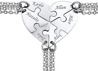 corazón puzzle collar de cadena amistad pareja encantos de socios de acero inoxidable 2