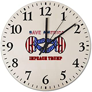 Save America Impeach Donald Trump Wooden Frameless Silent 12 inch Wall Clock, Suitable for Living Room Guest Room Villa