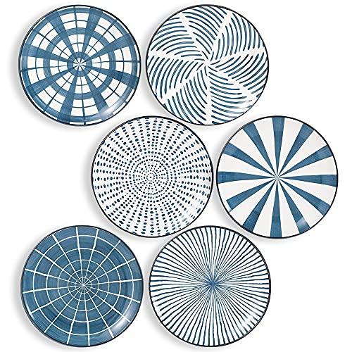 Platos Llanos Porcelana - Juego de Platos de 6 Azules - Platos Postre | Ensalada | Aperitivo | Fruta - Apto para Microondas y Lavavajillas - 20.3 cm
