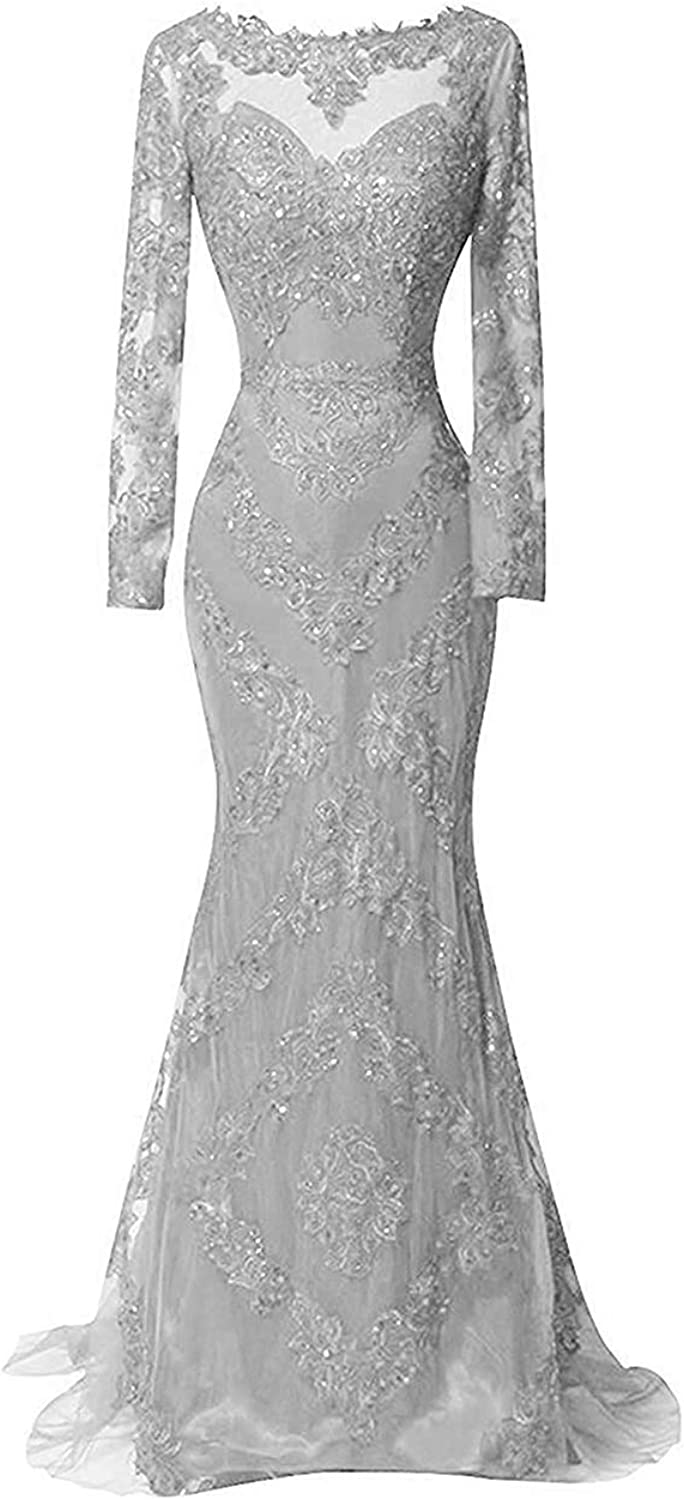 Alicebridal Women's Beaded Appliques Satin Evening Party Gown Long Sleeve Mermaid Lace Prom Dresses