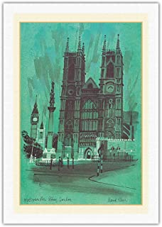 Westminster Abbey, London - TWA (Trans World Airlines) Menu Cover - Vintage Travel Poster by David Klein c.1968 - Fine Art Rolled Canvas Print 27in x 40in