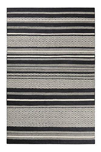 Esprit home I Handweb Kurzflor Teppich/Läufer aus Wolle für Wohnzimmer, Flur, Schlafzimmer I Hudson Kelim ESP-6113-01 | Schwarz Weiß | (130 x 190 cm)