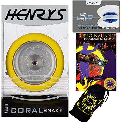 Henrys CORAL SNAKE YoYo (Jaune) Looping Trick (2A) Professionnelle Métal Roulement à Bille Yo Yo Avec Système AXYS + livre d'instruction de trucs +75 Yo-Yo Tricks DVD (en anglais) + sac de voyage! Niveau: Intermédiaire / Avancé