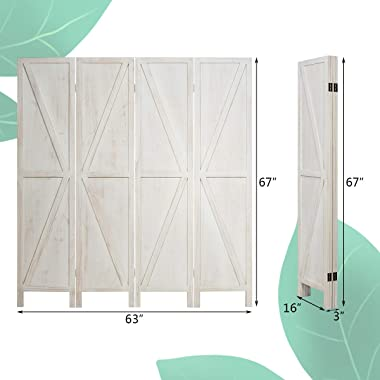 Giantex 4 Panel Folding Screen, 5.6 Ft Screen Room Divider w/V-Shaped Long Edge Ornament, Wood Folding Privacy Screens (White)