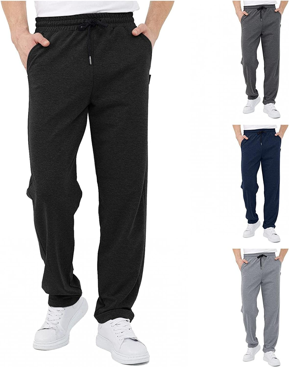 NREALY Joggers for Men Drawstring Casual Solid Color Trousers with Pockets