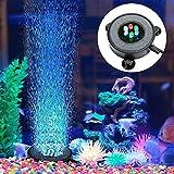Round Bubble Aquarium Light,Multi-Colored LED Aquarium Fish Tank Air Stone Disk with 6