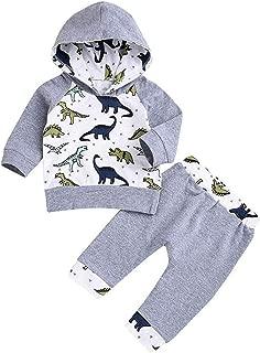 Newborn Baby Boy Girl Clothes Long Sleeve Dinosaur Hoodie Tops+ Cute Pants 2PCS Outfit Set