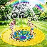 SANBLOGAN Splash Pad,Sommer Garten Wasserspielzeug,Sprinkler Wasserspielmatte,170CM Spielzeug Sprinkler Play Matte,für Outdoor Familie Aktivitäten Party Strand Entspannen Kinder, Bunte Meereswelt,Gelb