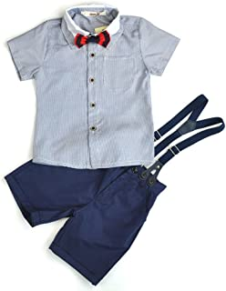 (チェリーレッド) CherryRed 男の子 フォーマルスーツ 半袖 縦縞 4点セット 紺