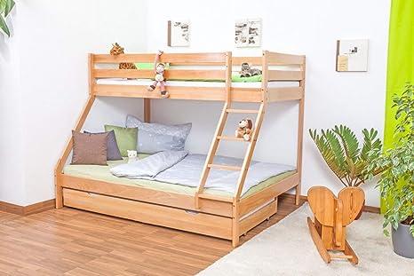 Lukas Light Bunk Bed Play Bed Solid Beech Natural With Slanted Ladder Including Slanted Slatted Slats Amazon De Home Kitchen