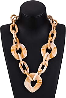OETY Ladies Wood Long Simple Lock Chain Green Necklace For Women Chain Necklaces