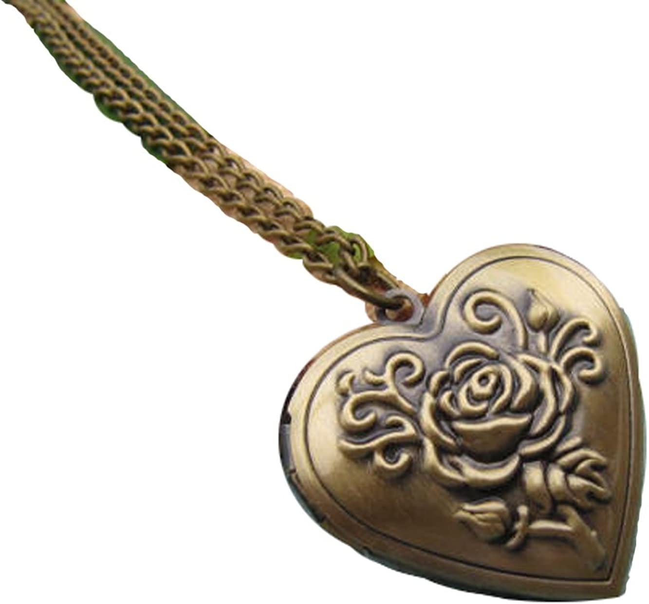 Antique Bronze Imprinted Heart Shaped Floral Rose Locket Chain Necklace