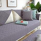 fundas sofa chaise longue,Fundas de toallas de sofá Reversible universales, fundas acolchadas de tela de algodón, toalla de espalda, funda de sillón, almohadilla de alféizar gris oscuro 70 * 70 cm