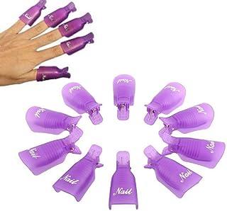 HiMo 10PC Plastic Acrylic Nail Art Soak Off Cap Clip UV Gel Polish Remover Wrap Tool (purple)