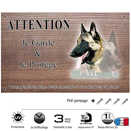 Pets-Easy.com Attention Chien de Garde personnalisée Malinois de beauté - pré perforée et vis comprises. De 30 cm à 15 cm…