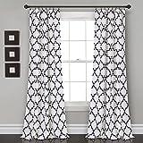 Lush Decor, Navy Bellagio Room Darkening Curtains-Trellis Geometric Design Window Panel Drapes Set for Living, Dining, Bedroom (Pair), 84' x 52'
