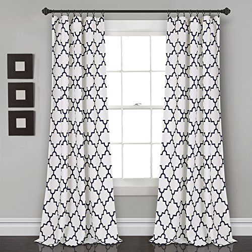 "Lush Decor, Navy Bellagio Room Darkening Curtains-Trellis Geometric Design Window Panel Drapes Set for Living, Dining, Bedroom (Pair), 108"" x 52 108"" x 52"""