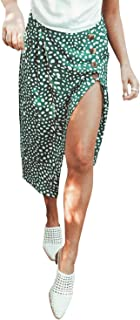 Women's Elegant High Waist Polka Dot Skirt Asymmetrical Layer Ruffle Long Skirt