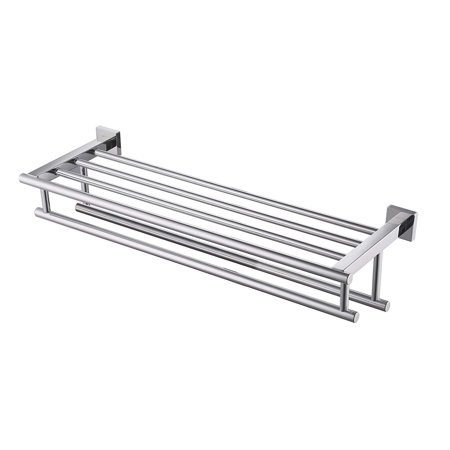 Kes Bathroom Bath Towel Rack with Double Towel Bar 24-Inch Wall Mount Shelf Rustproof Stainless Steel Polished Finish, A2112S60