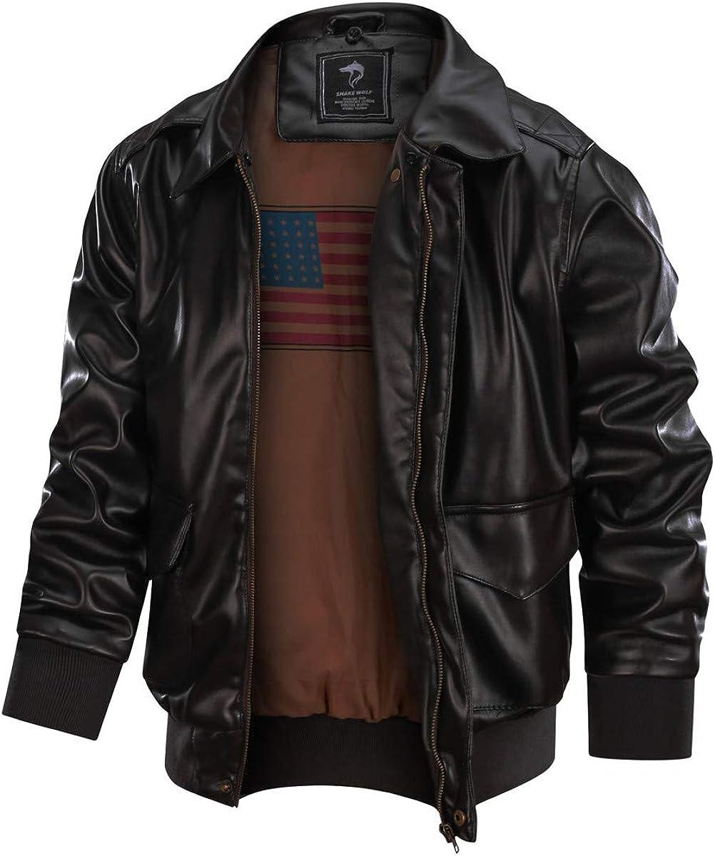 Shanghai Story Men's Leather Jacket MA-1 Leather Jacket PU Leather Bomber Jacket Coats