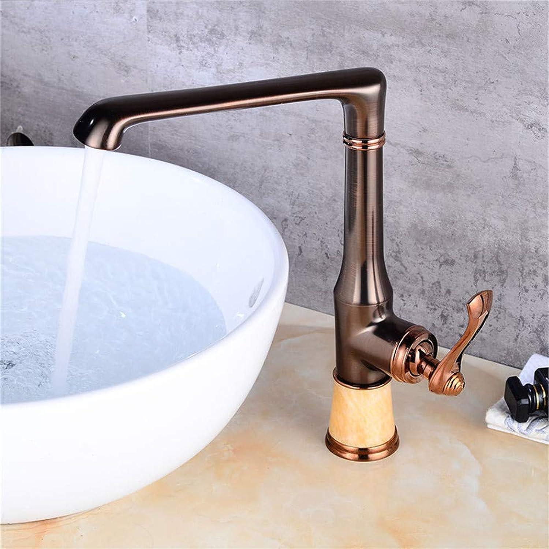 Wasserhahn Küche Waschbecken Badezimmer Europischen Stil Küchenarmatur, alle Kupfer schwarz l gebürstet Deck montiert einzigen Hangle kalt und warm Küchenarmatur