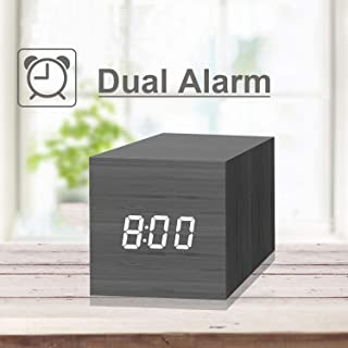 Digital Alarm Clock, with Wooden Electronic LED Time Display, 2 Dual Alarm, 2.5-inch Cubic Small Mini Wood Made Electric Clocks for Bedroom, Bedside, Black