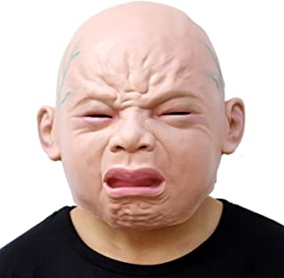 Novelty Latex Rubber Mask,Cry Baby Face Head Mask Halloween Costume Party Perfect for Carnivals Dress Up Adult Accessory W...