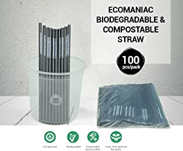 Ecomaniac: Biodegradable Straw | Disposable Straw | Compostable Straws | Perfect Alternative to Plastic, Paper, Metal, Glass & Bamboo Straws - Pack of 100 [Printed #IAMECOFRIEDNLY] [6 * 200mm]