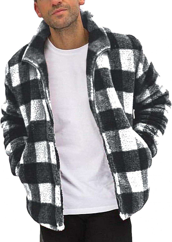 FUNEY Men's Long Sleeve Sweatshirt Jackets Casual Fleece Sherpa Lined Zipper Up Plaid Stand Collar Sweater Coats Outwear